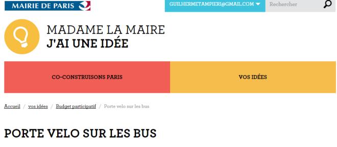 """Em cima, o nome do programa. Embaixo, o nome da proposta """"Porte vélo sur les bus"""""""